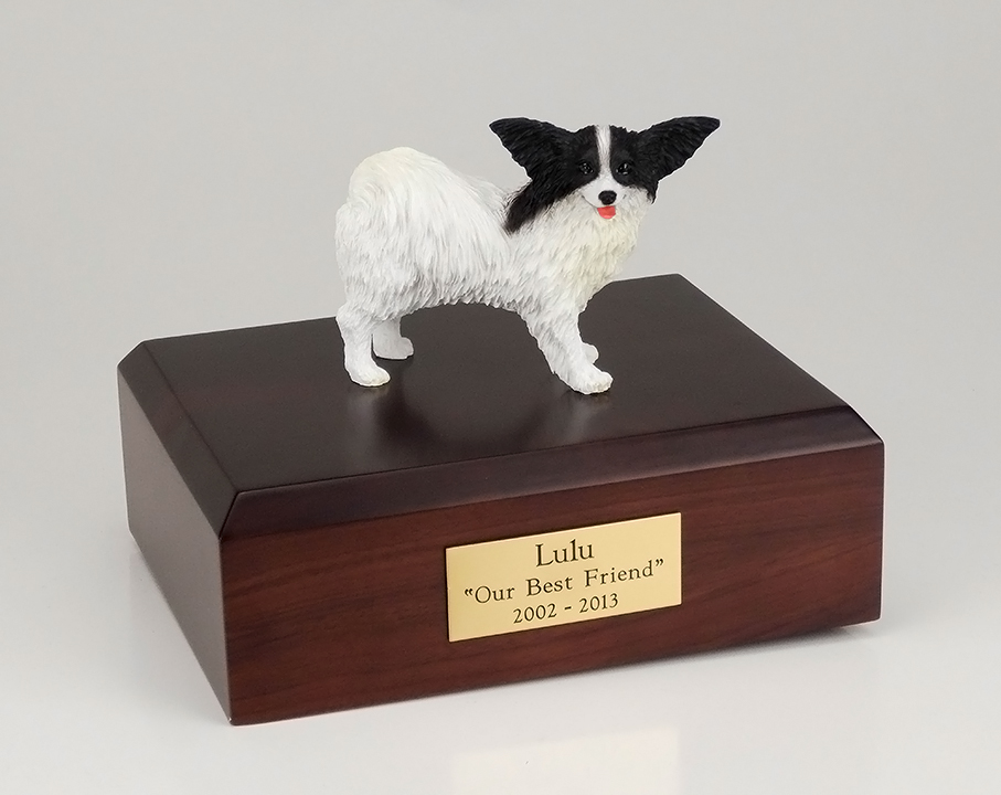 Dog, Papillon, Black/White - Figurine Urn