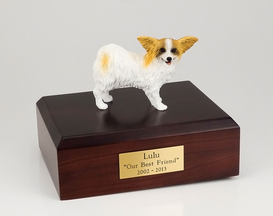 Dog, Papillon, Brown/White - Figurine Urn
