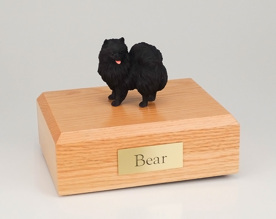 Dog, Pomeranian, Black - Figurine Urn