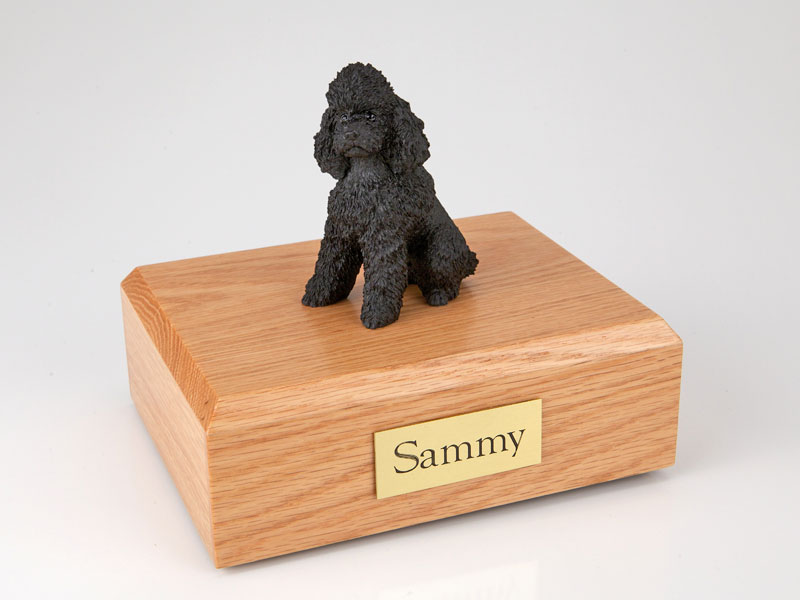 Dog, Poodle, Black - sport cut - Figurine Urn