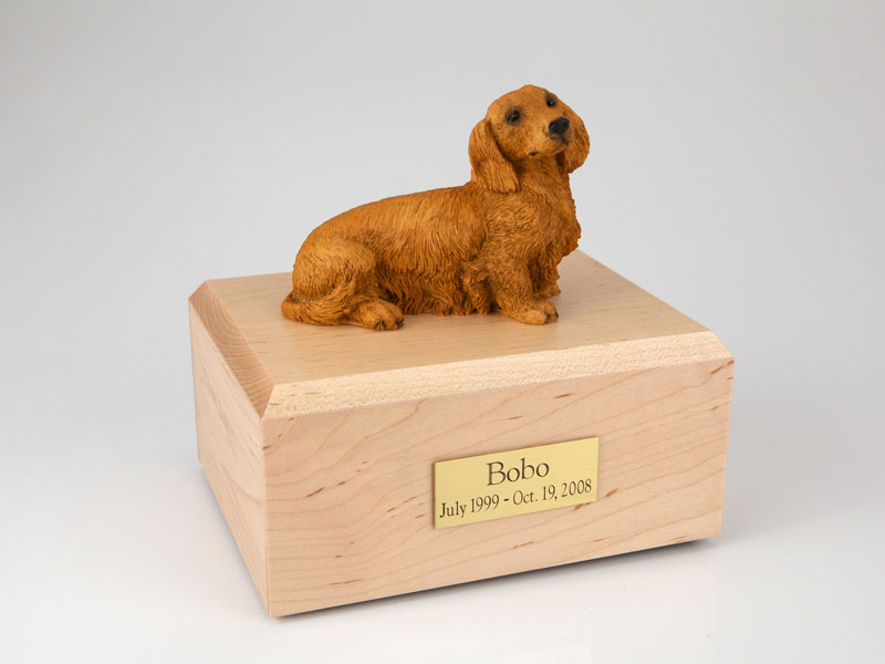 Dog, Dachshund, Long-haired Brown - Figurine Urn