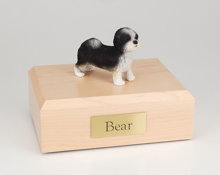 Dog, Shih Tzu, Black/White, Puppycut - Figurine Urn