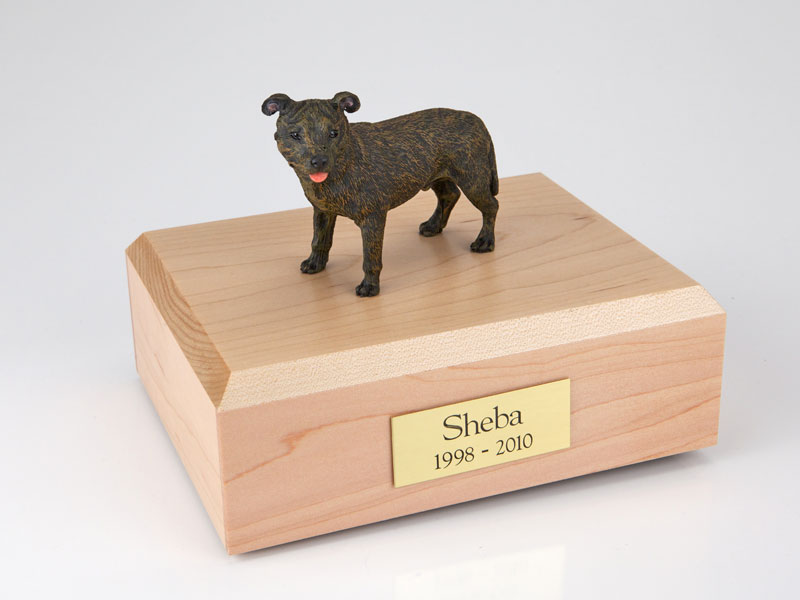 Dog, Staffordshire Bull Terrier, Brindle - Figurine Urn